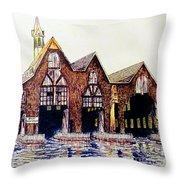 Boldt Castle Boat House Throw Pillow