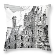 Boldt Castle With Seagull Throw Pillow