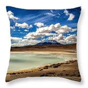 Bolivia Lagoon Clouds Framed Throw Pillow