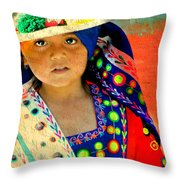 Bolivian Child Throw Pillow