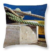 Bollard Closeup - Ropes - Mooring Lines - Wharf Throw Pillow