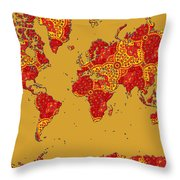 Bollywood Colors Awesome Paisley World Map Throw Pillow