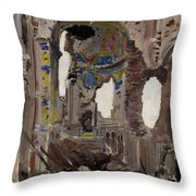 Bombed Out Interior Of Albert Church Throw Pillow by Ernest Proctor