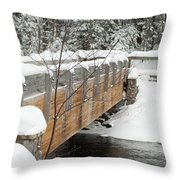 Bond Falls Bridge Throw Pillow