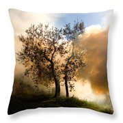 Bonfire And Olive Tree Throw Pillow
