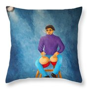Bongo Man Throw Pillow by Pamela Allegretto