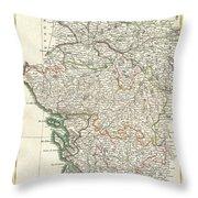 Bonne Map Of Poitou Touraine And Anjou France Throw Pillow