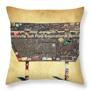 Bonneville Salt Flats Sign Throw Pillow
