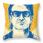 Bono Pop Art Throw Pillow by Jim Zahniser