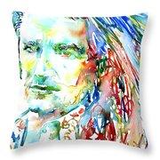 Bono Watercolor Portrait.2 Throw Pillow