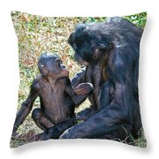Bonobo Adult Talking To Juvenile Throw Pillow
