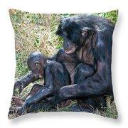 Bonobo Adult Tickeling Juvenile Throw Pillow