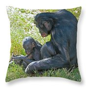 Bonobo Mother And Baby Throw Pillow