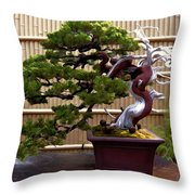 Bonsai Tree And Bamboo Fence Throw Pillow by Elaine Plesser