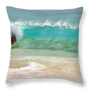 Boogie Board Surfing Throw Pillow