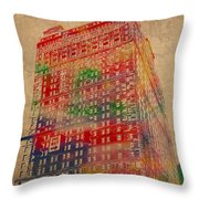 Book Cadillac Iconic Buildings Of Detroit Watercolor On Worn Canvas Series Number 3 Throw Pillow by Design Turnpike