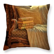 Books On Victorian Sofa Throw Pillow