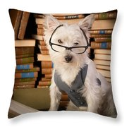 Bookworm Dog Throw Pillow