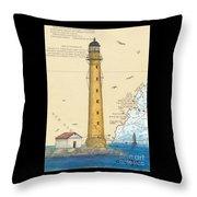 Boon Island Lighthouse Me Chart Art Cathy Peek Throw Pillow