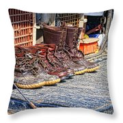 Boots Lined Up After The Hunt Throw Pillow
