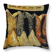 Boots Off At The Door Throw Pillow by Stefon Marc Brown