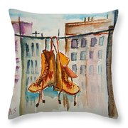 Boots On A Wire Throw Pillow