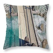 Boots On Swing Bridge Over Troubled White Water Throw Pillow