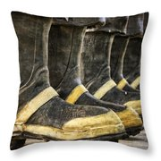 Boots On The Ground Throw Pillow by Joan Carroll