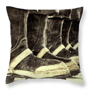 Boots On The Ground Monotone Throw Pillow by Joan Carroll