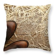 Boots On Wood Throw Pillow