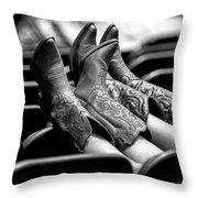 Boots Up - Bw Throw Pillow