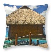 Bora Bora Bungalow Throw Pillow