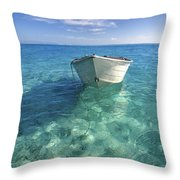 Bora Bora White Boat Throw Pillow