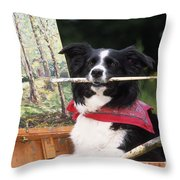 Border Collie At Painting Easel Throw Pillow