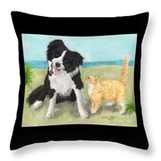 Border Collie Dog Orange Tabby Cat Art Throw Pillow