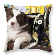 Border Collie Puppy With Sewing Machine Throw Pillow