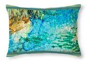Borderized Abstract Ocean Print Throw Pillow