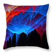 Borealis - Blue And Red Abstract Throw Pillow
