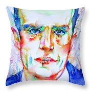 Boris Vian - Colored Pens Portrait Throw Pillow