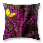 Boronia With Yellow Butterfly Throw Pillow