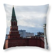 Borovitskaya Tower Of Moscow Kremlin Throw Pillow