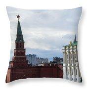 Borovitskaya Tower Of Moscow Kremlin - Square Throw Pillow