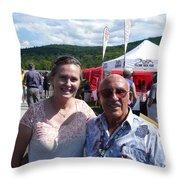 Borsos Anna Ruzsan With Sir Stirling Moss 2012 Throw Pillow