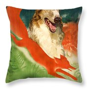 Borzoi Art - Hunting In The Ussr Poster Throw Pillow