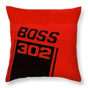Boss 302 Emblem On A Car Throw Pillow