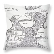 Boston And Bunker Hill 1781 Throw Pillow by American School