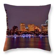 Boston Back Bay Skyline At Night Color Panorama Throw Pillow