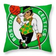 Boston Celtics Canvas Throw Pillow by Dan Sproul