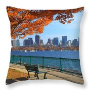 Boston Charles River In Autumn Throw Pillow by John Burk
