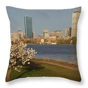 Boston Charles River On A Spring Day Throw Pillow